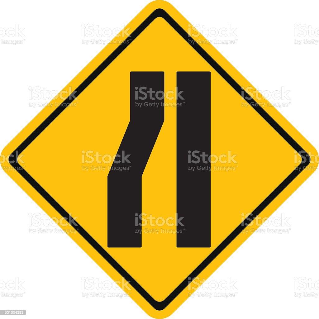 Warning traffic sign, Road narrows on left vector art illustration