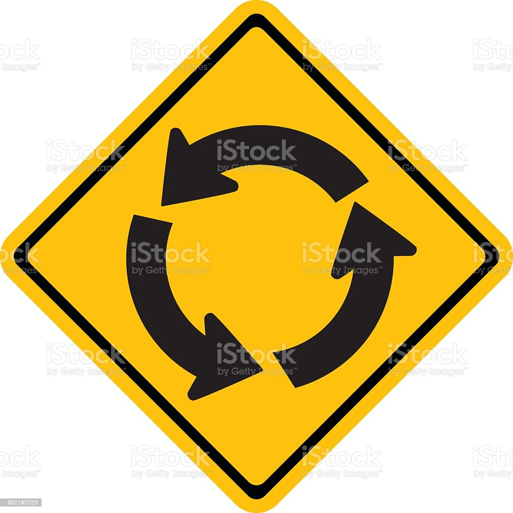Warning traffic sign, Roundabout vector art illustration