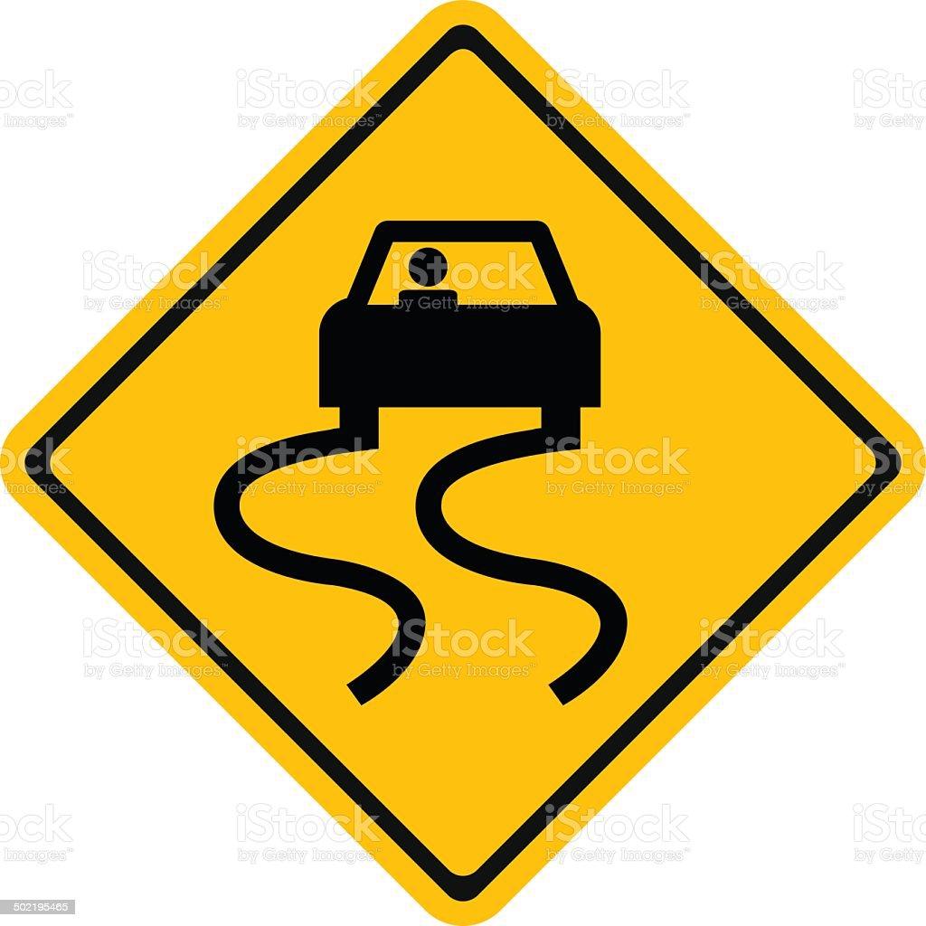 Warning traffic sign Slippery road vector art illustration