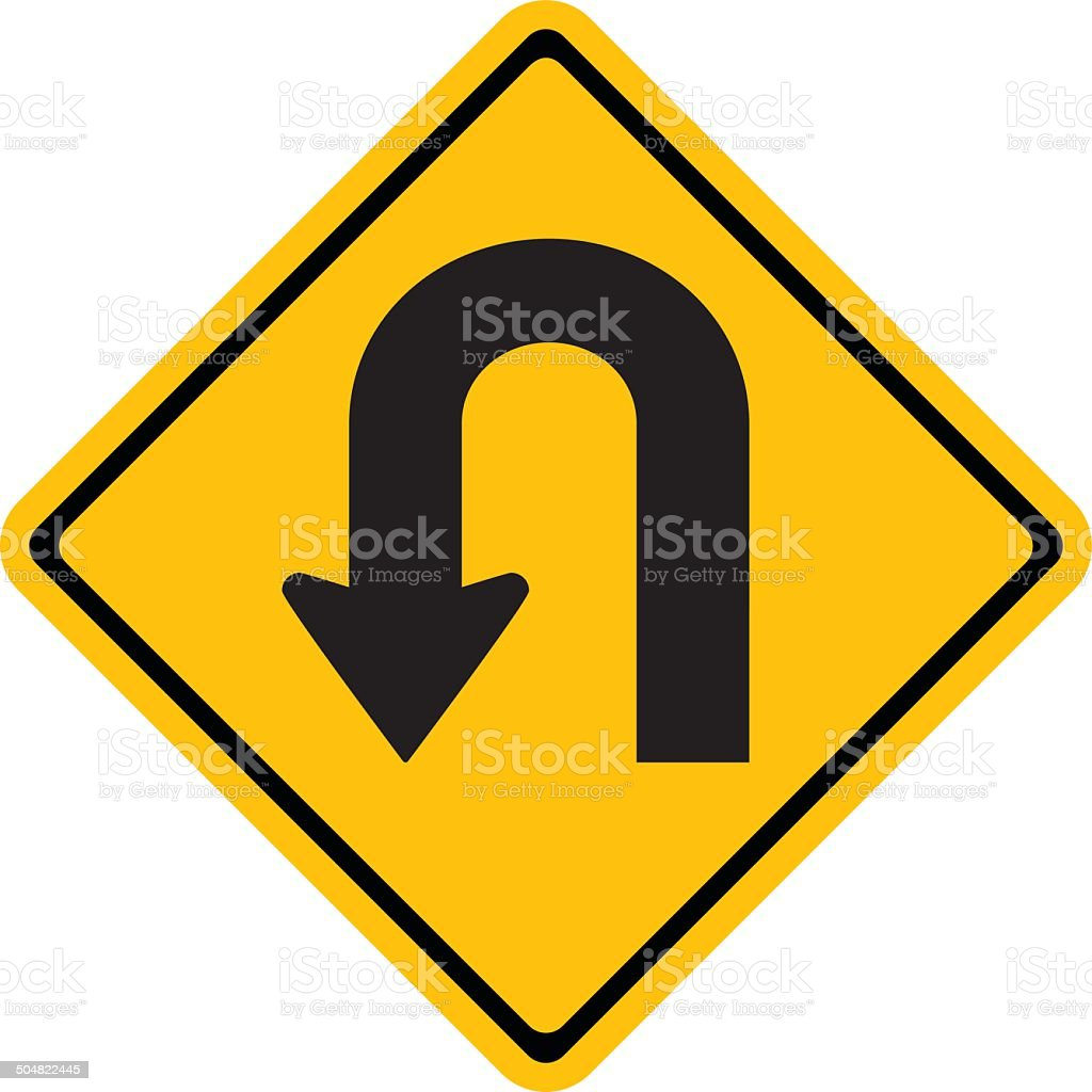 Warning traffic sign U-TURN vector art illustration