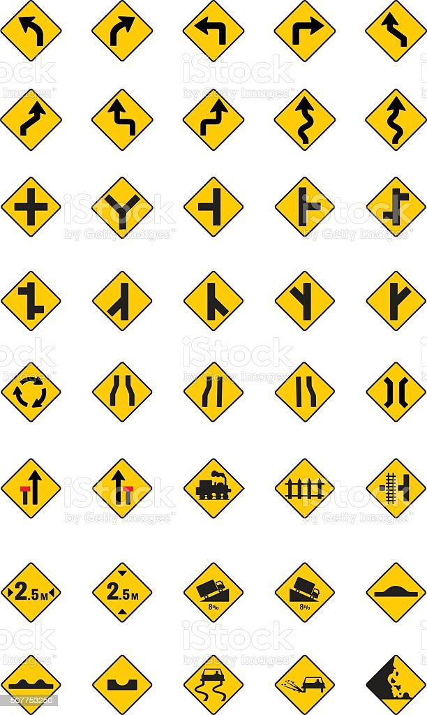 warning traffic signs, traffic signs vector set vector art illustration