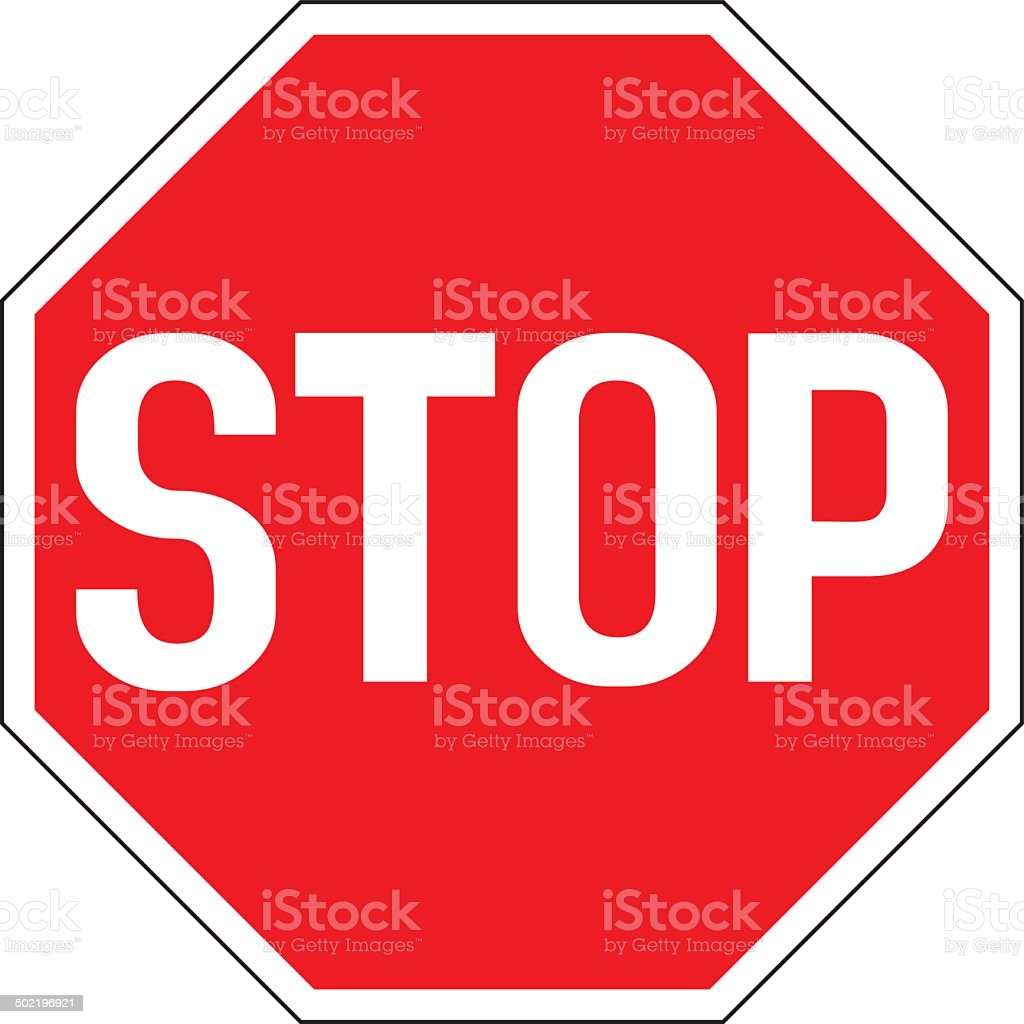 Warning traffic Stop sign vector art illustration