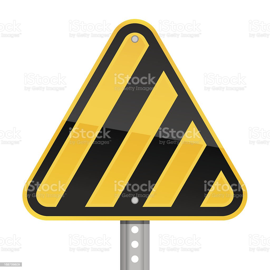 Warning triangle yellow road sign black hazard stripes white background royalty-free stock vector art