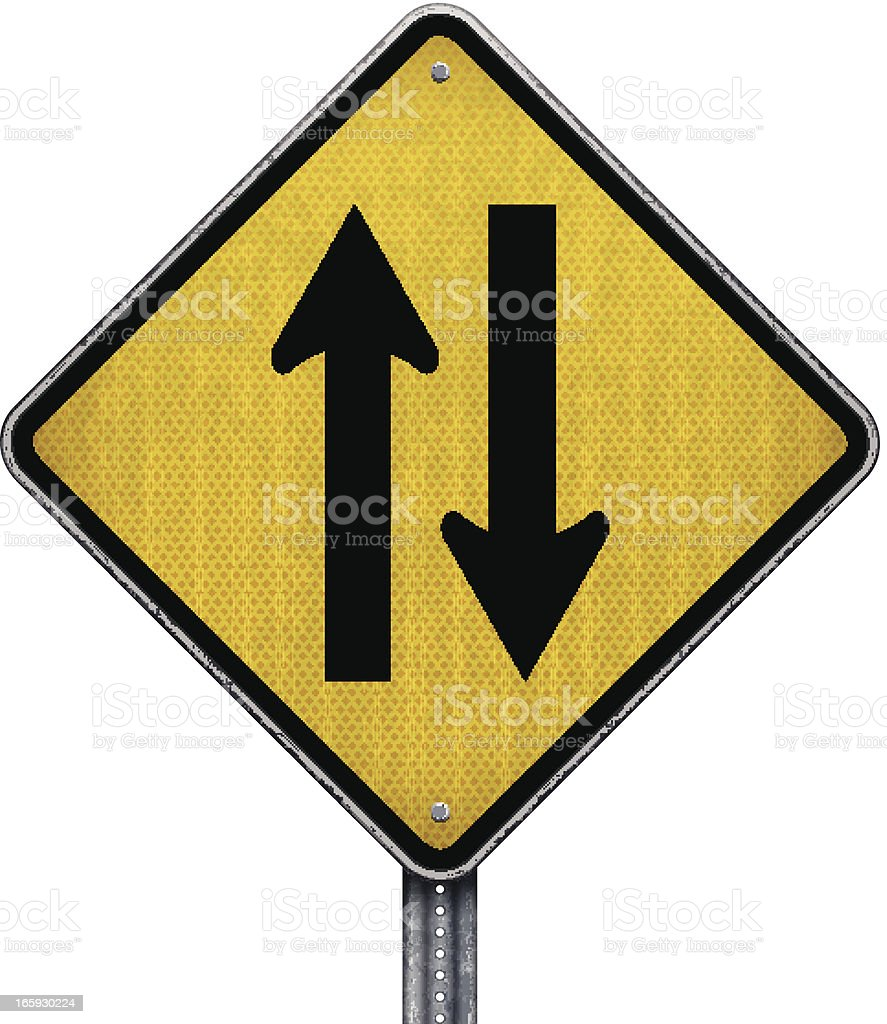 warning two-way traffic straight ahead road sign royalty-free stock vector art