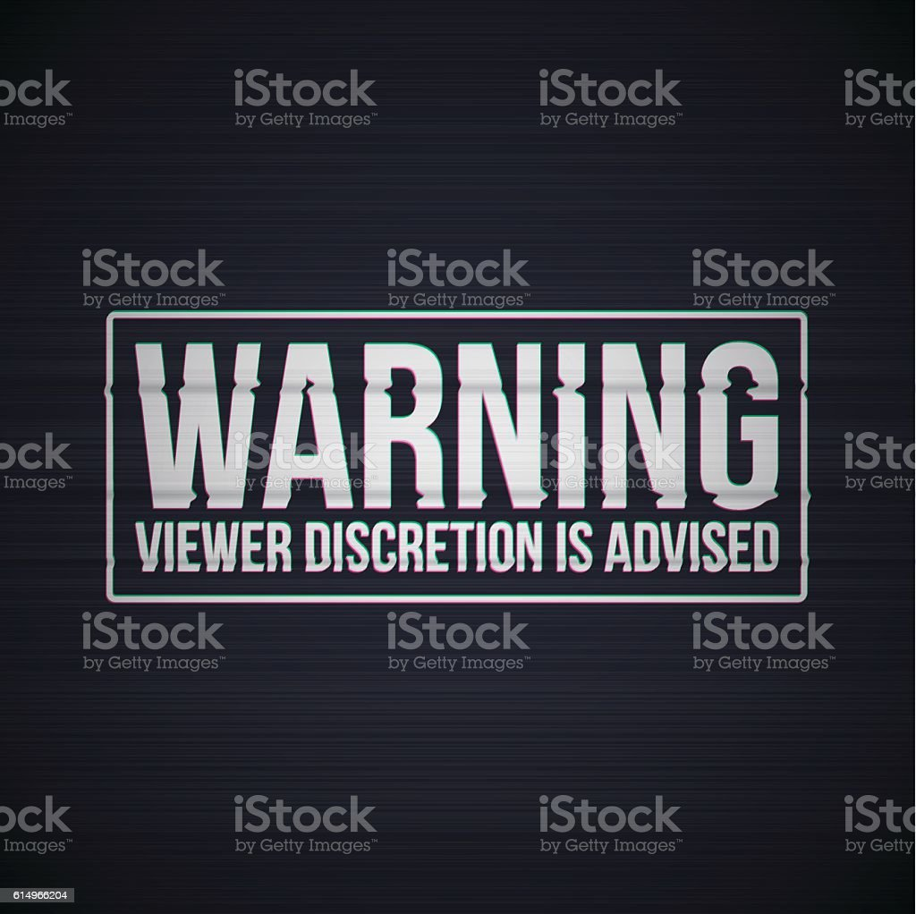 Warning Viewer Discretion is Advised Glitch Screen vector art illustration