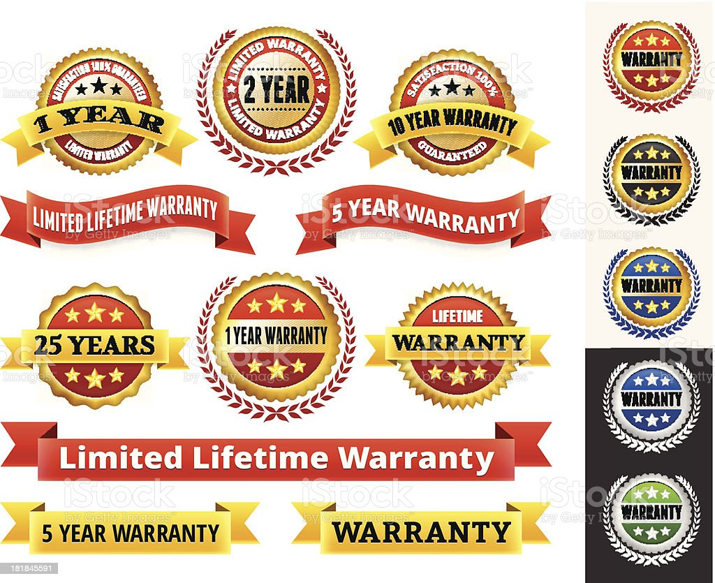 Warranty Badges Red and Gold Collection vector art illustration