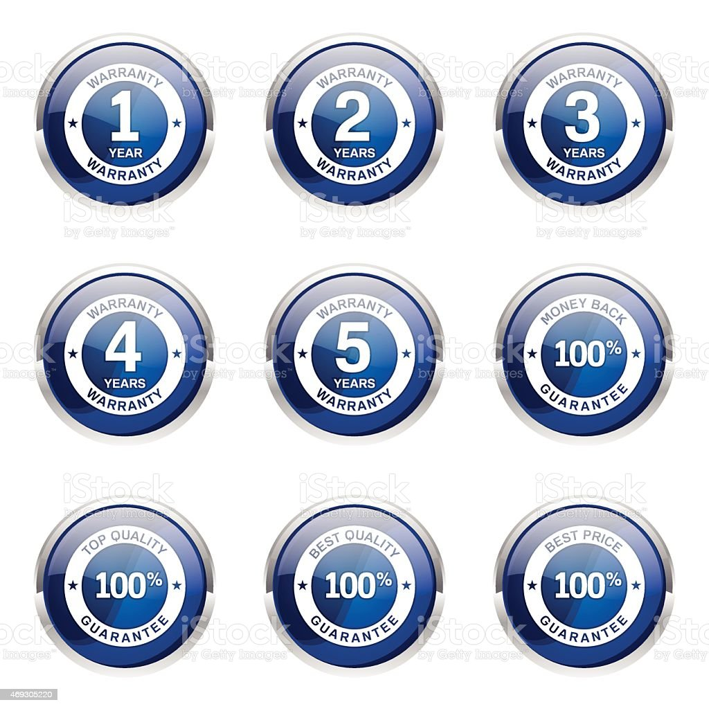 Warranty Guarantee Seal Blue Vector Button Icon Design Set vector art illustration