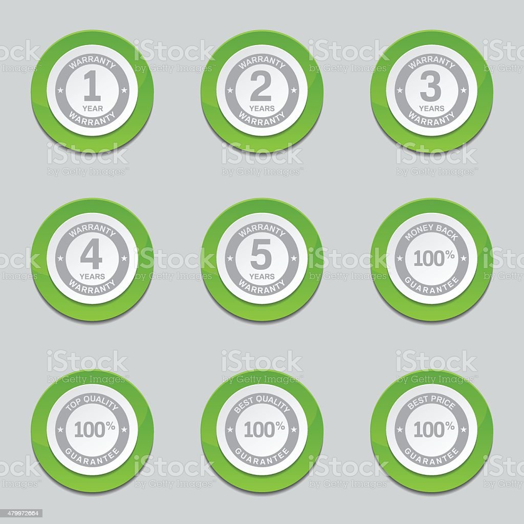 Warranty Guarantee Seal Green Vector Button Icon Design Set vector art illustration