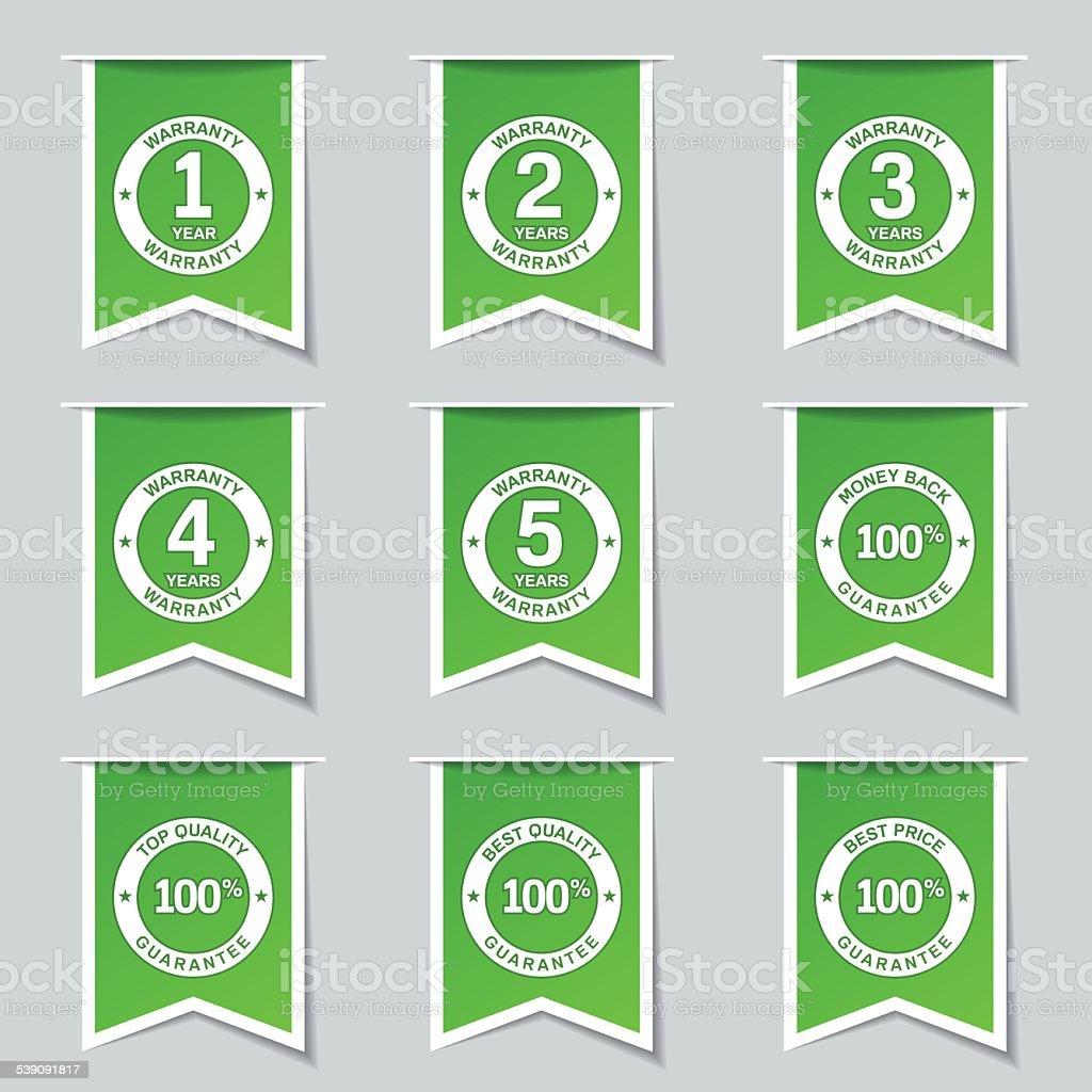 Warranty Guarantee Seal Label Vector Green Icon Design Set vector art illustration