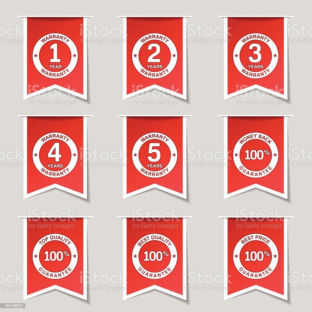 Warranty Guarantee Seal Label Vector Red Icon Design Set vector art illustration