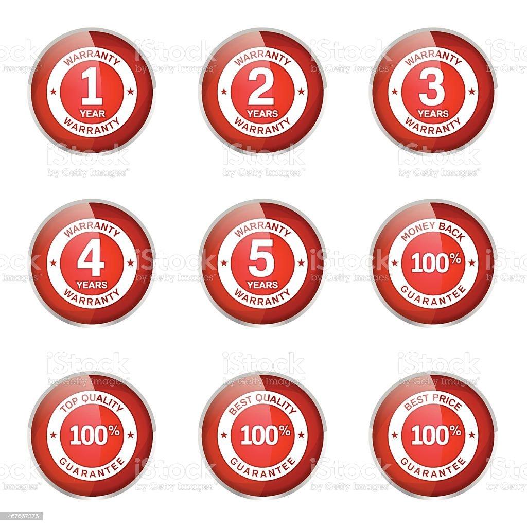 Warranty Guarantee Seal Red Vector Button Icon Design Set vector art illustration
