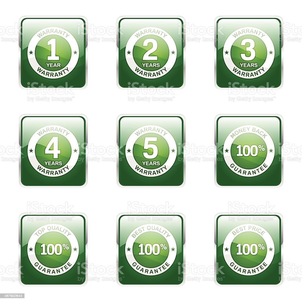 Warranty Guarantee Seal Square Vector Green Icon Design Set vector art illustration