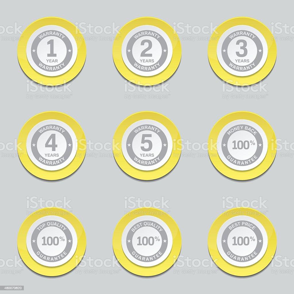 Warranty Guarantee Seal Yellow Vector Button Icon Design Set vector art illustration