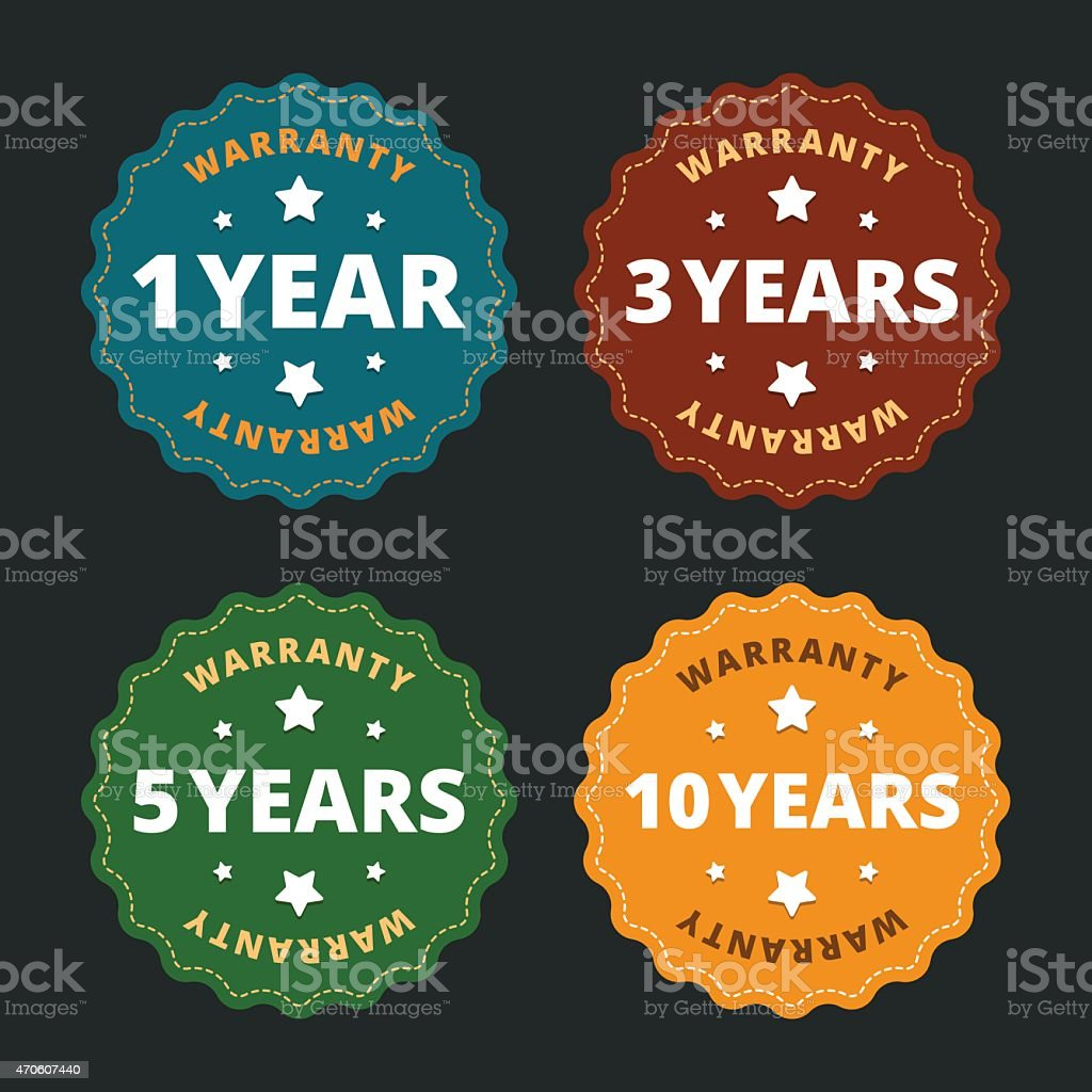 Warranty labels - for 1, 2, 5 and 10 years. vector art illustration