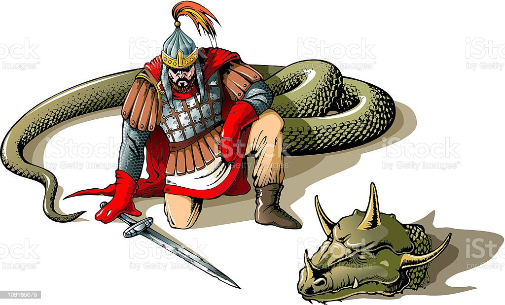 Warrior and a giant snake vector art illustration
