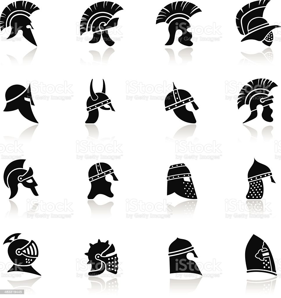 Warrior Helmet Icon Set vector art illustration
