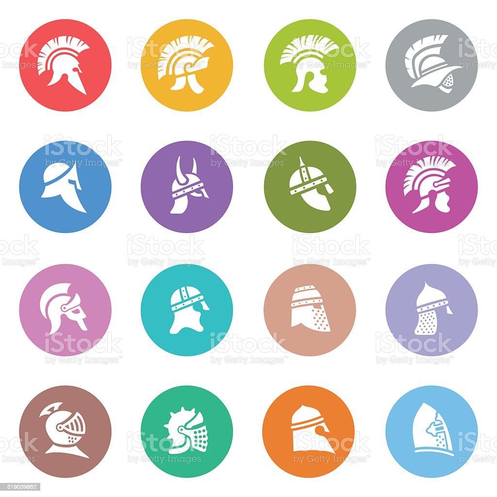 Warrior Helmet Icon Set vector art illustration