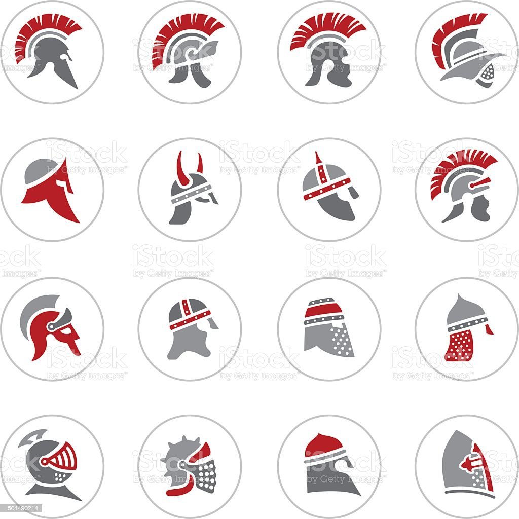 Warrior Helmet Icons vector art illustration