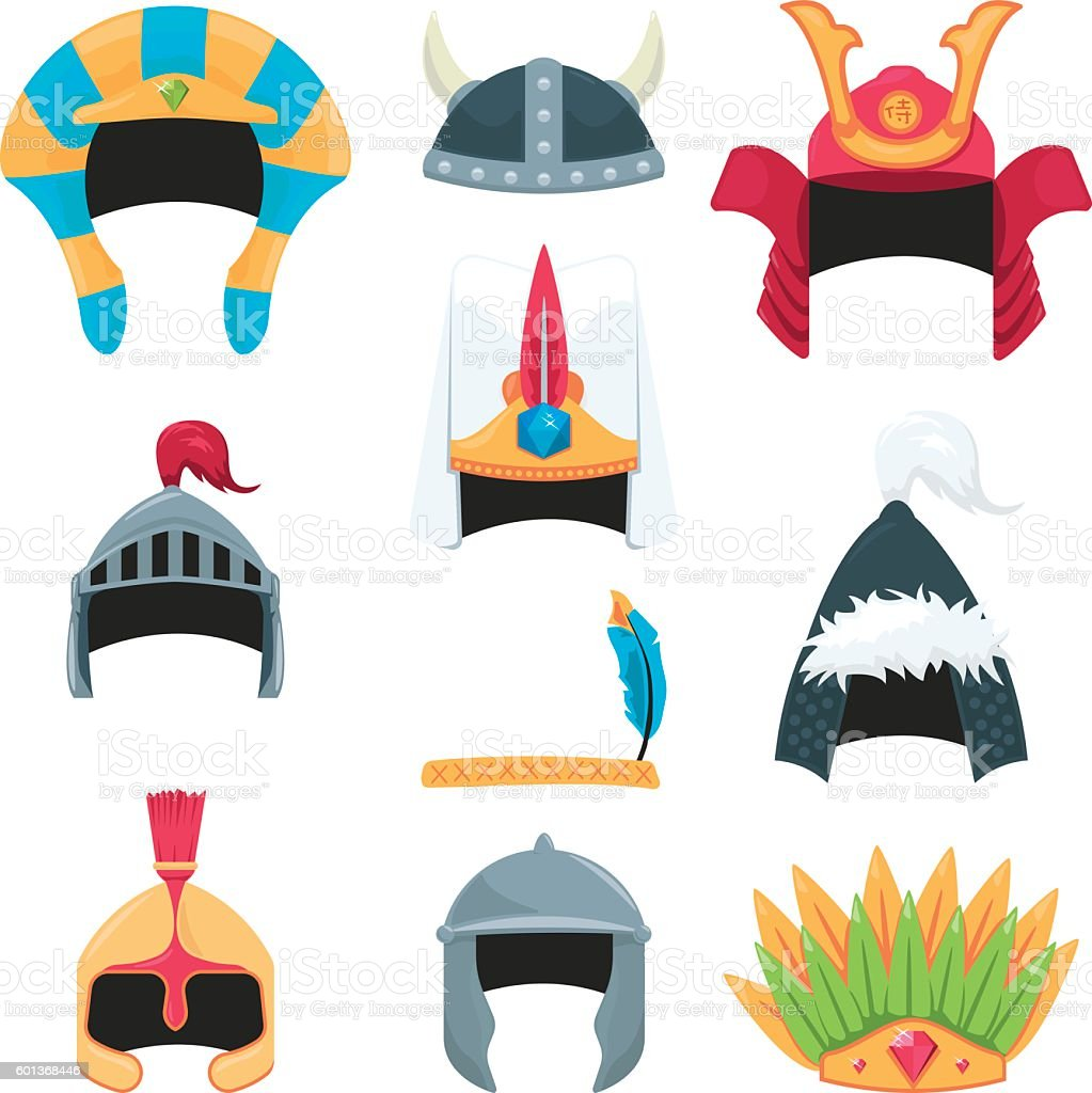 Warrior Helmets vector art illustration