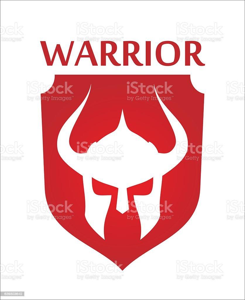 warrior. knight. barbarian on red shield. warrior mascot vector art illustration