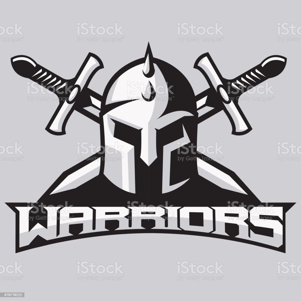 Warrior mascot for sport teams. Helmet with swords, logo, symbol vector art illustration