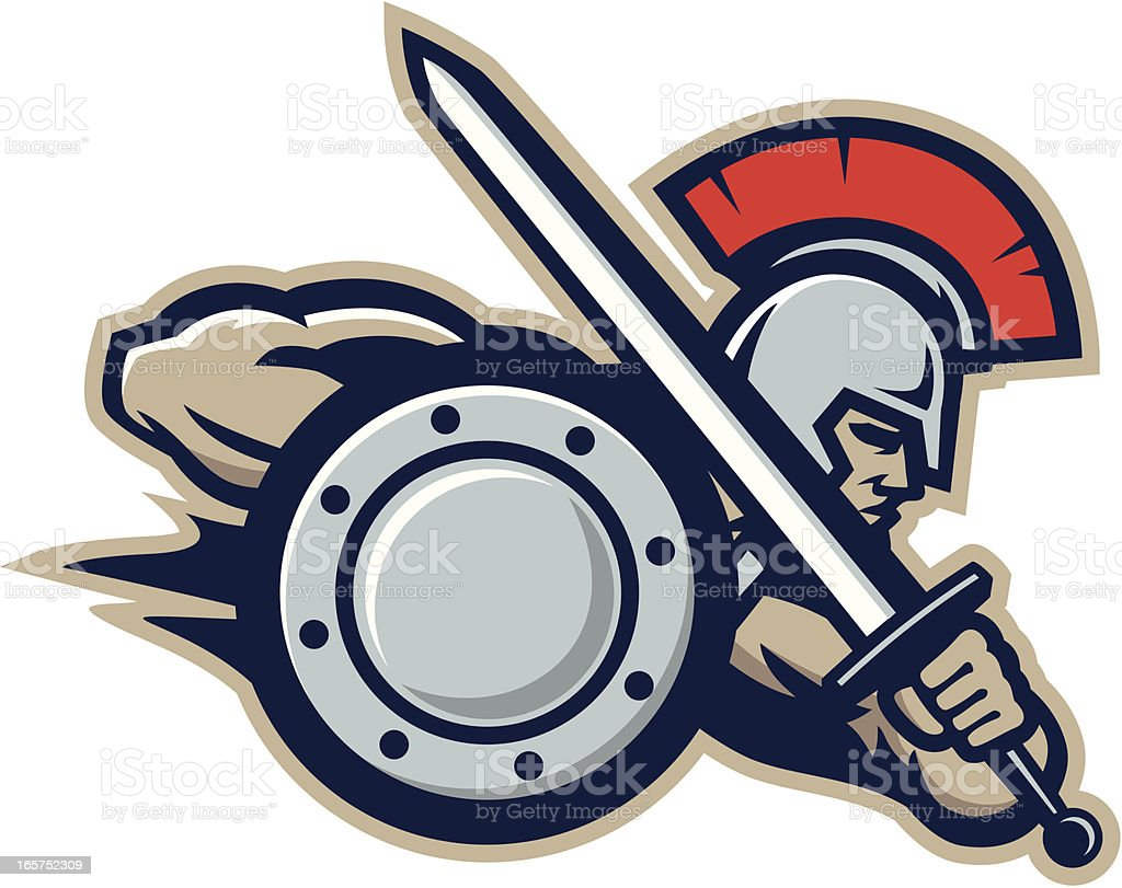Warrior mascot vector art illustration