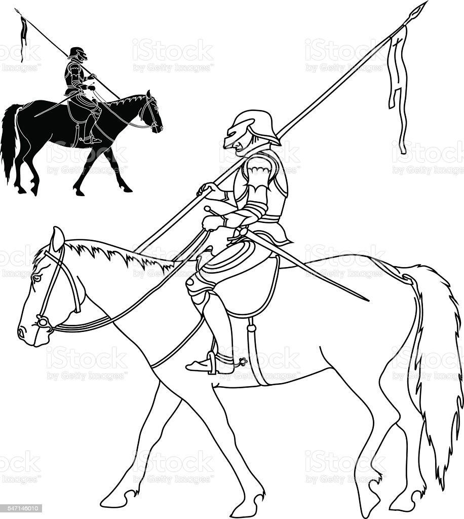Warrior on horse vector art illustration