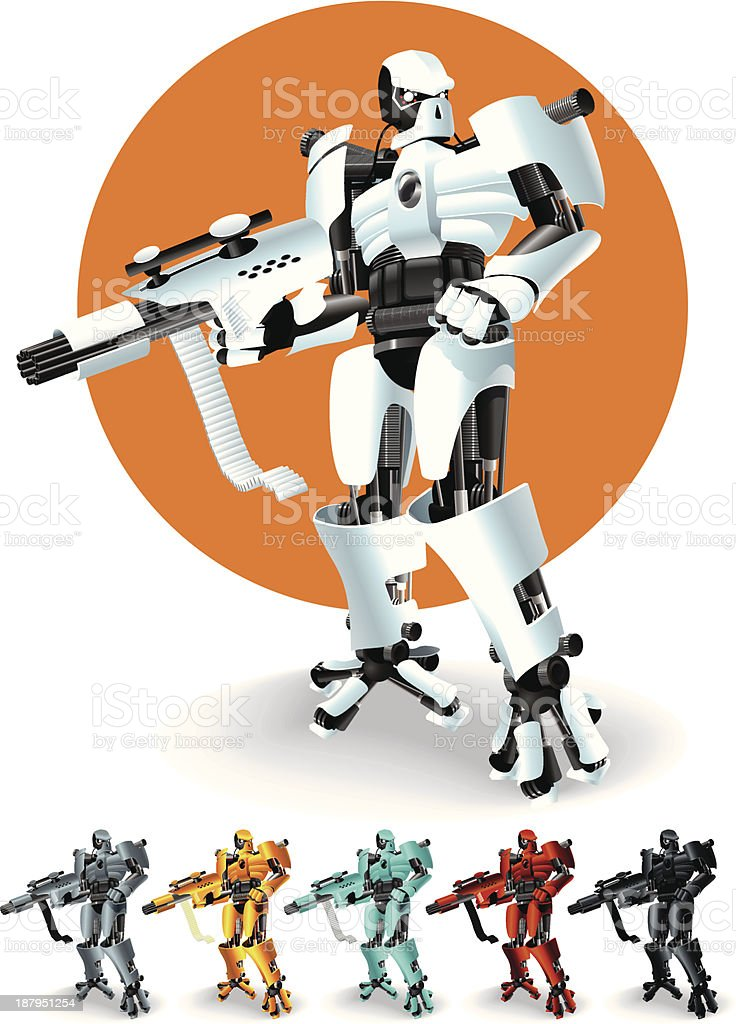 Warrior Robot royalty-free stock vector art