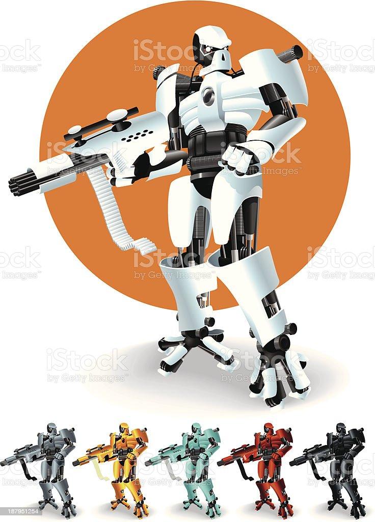 Warrior Robot vector art illustration