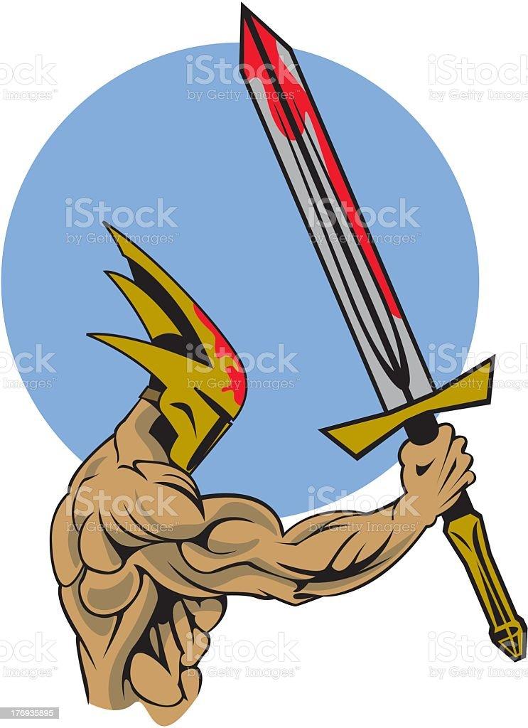 Warrior With Sword royalty-free stock vector art