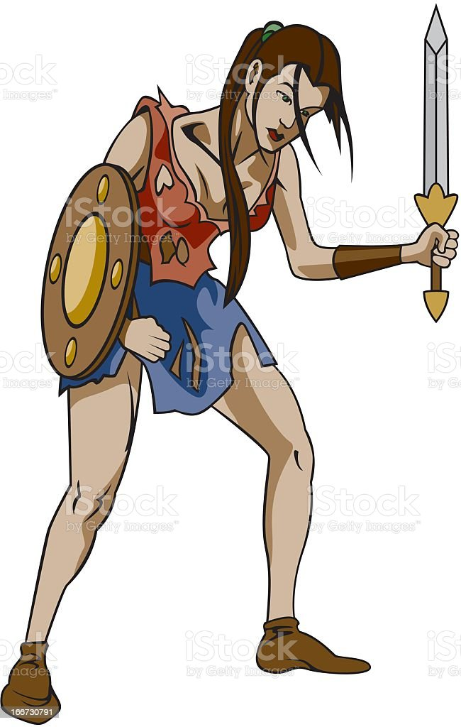 Warrior Woman royalty-free stock vector art