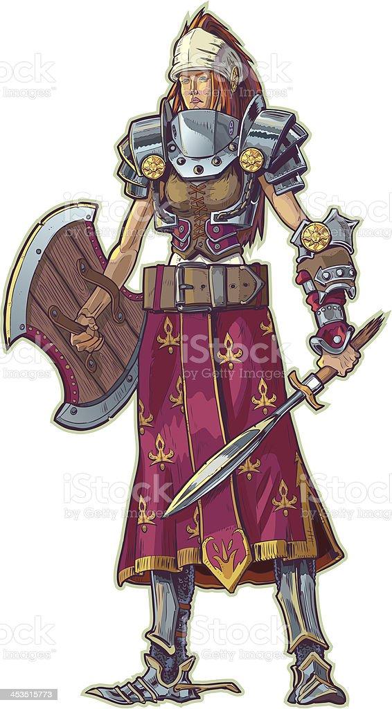 Warrior Woman with Red Hair Vector Cartoon vector art illustration