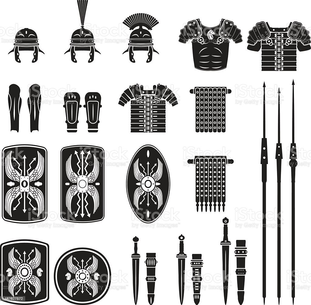 Warriors series - Roman army equipment vector vector art illustration