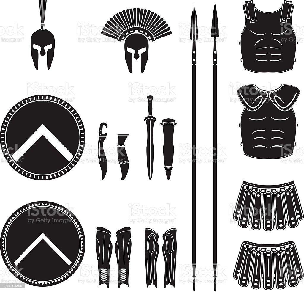 Warriors series - Spartan equipment vector art illustration
