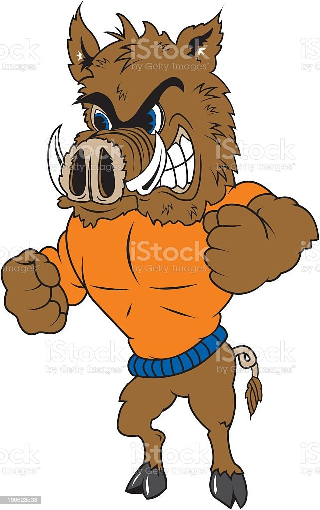 Warthog Wears an Orange Sweater royalty-free stock vector art