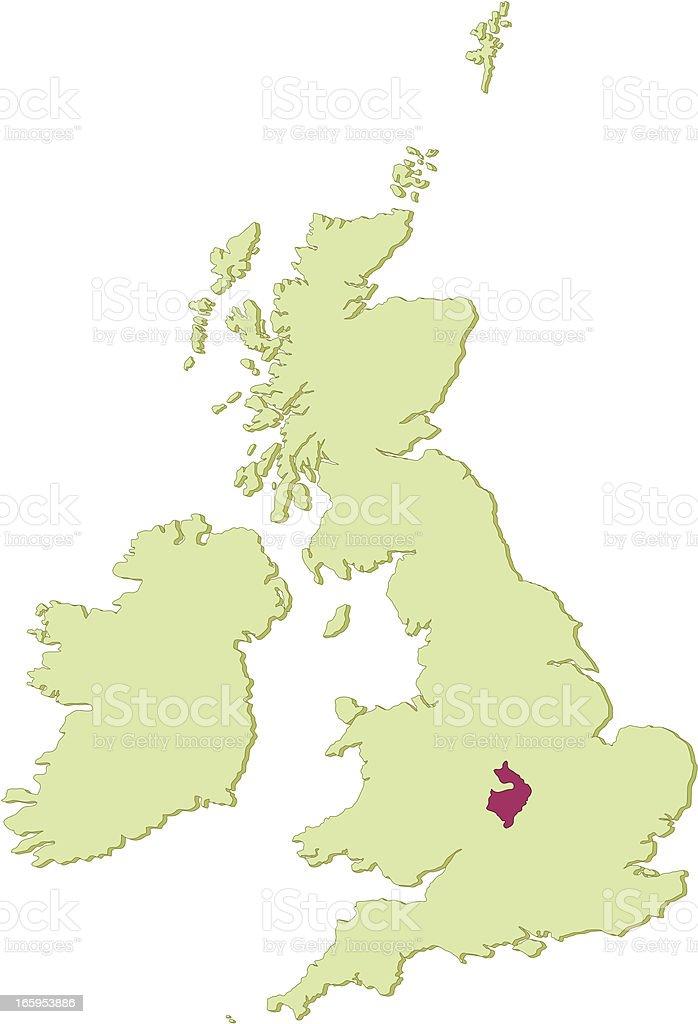 Uk Warwickshire Map stock vector art 165953886 – Map Uk Warwick