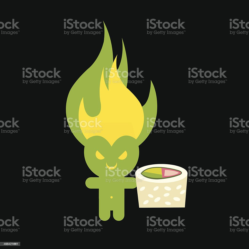 Wasabi Sprite with Sushi vector art illustration