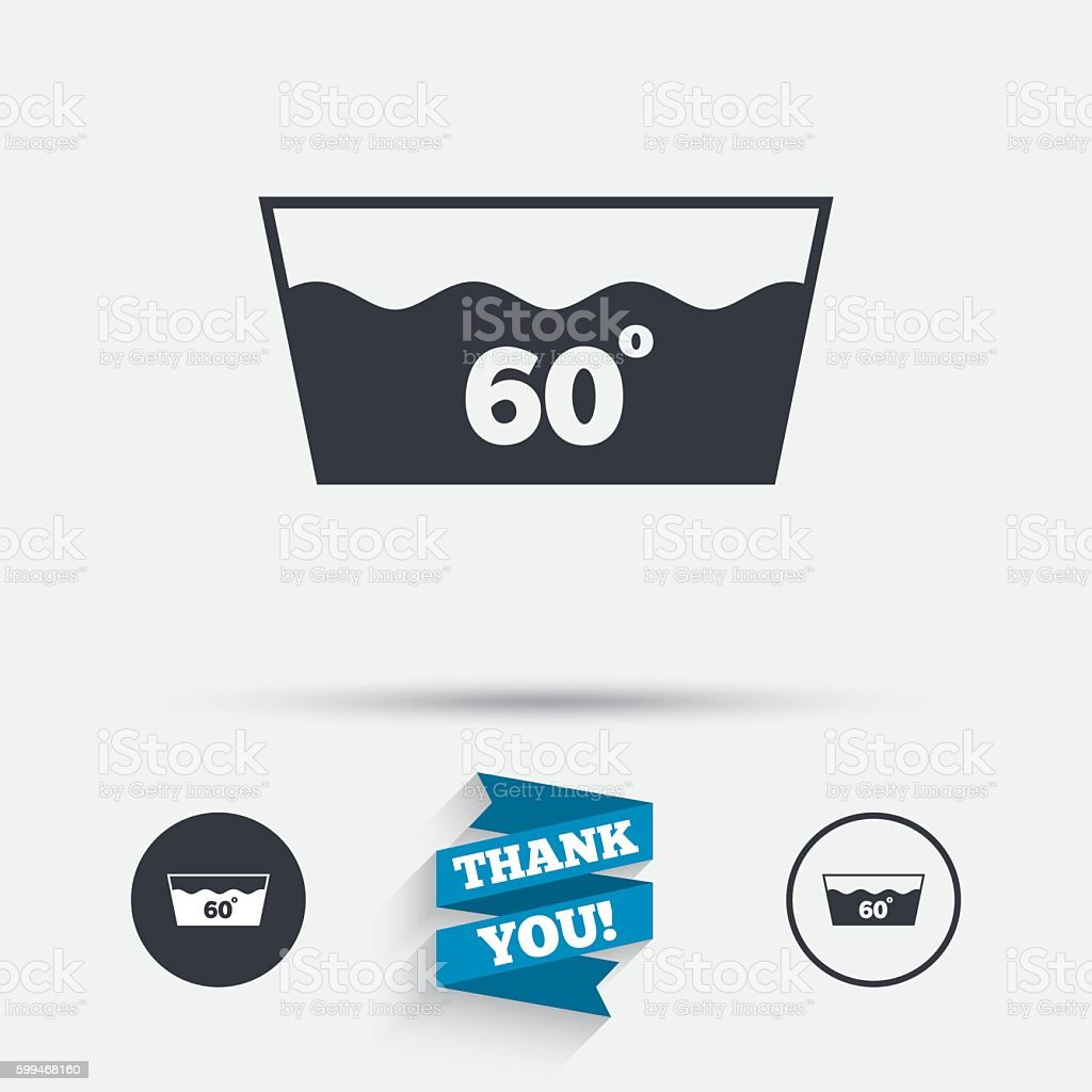 Wash icon. Machine washable at 60 degrees symbol vector art illustration