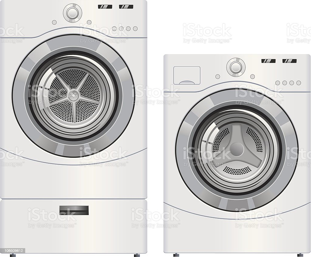Wash Machine and Dryer vector art illustration