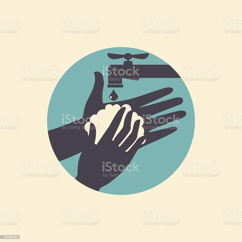 Wash your hands vector art illustration
