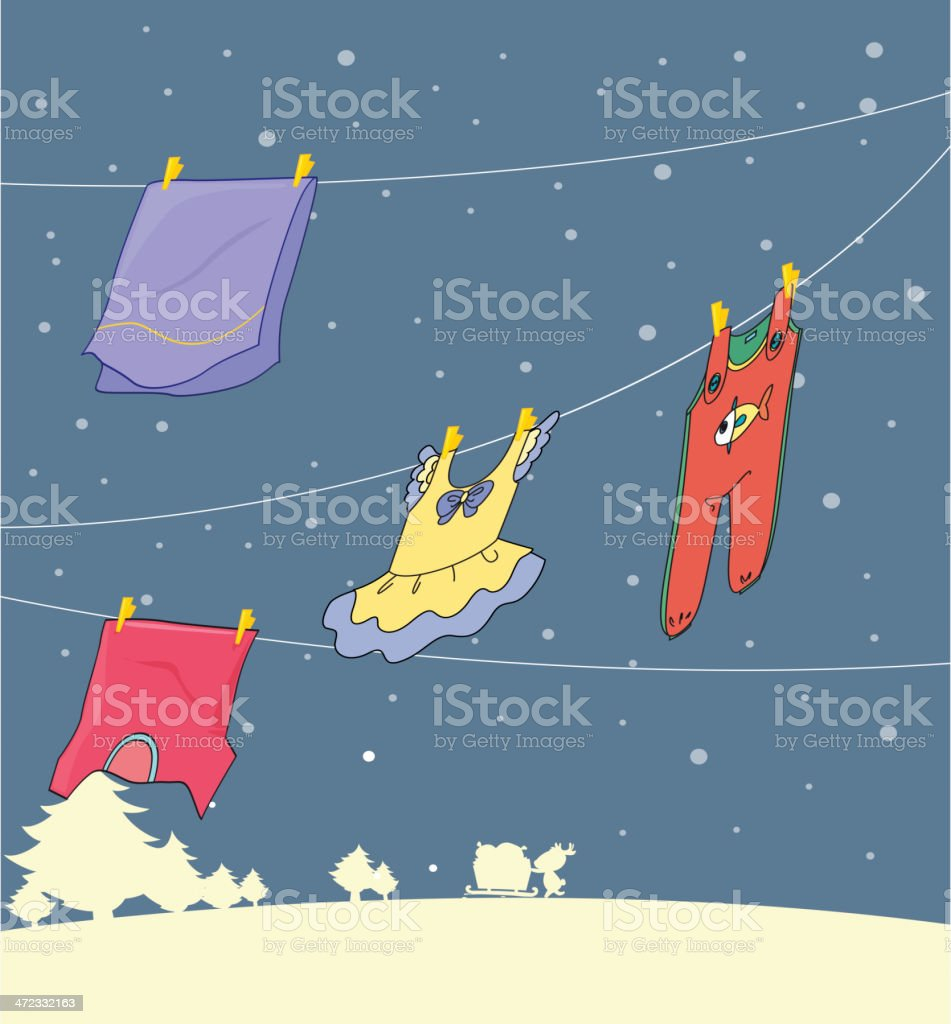 Washed clothes hanging under a snowy season royalty-free stock vector art