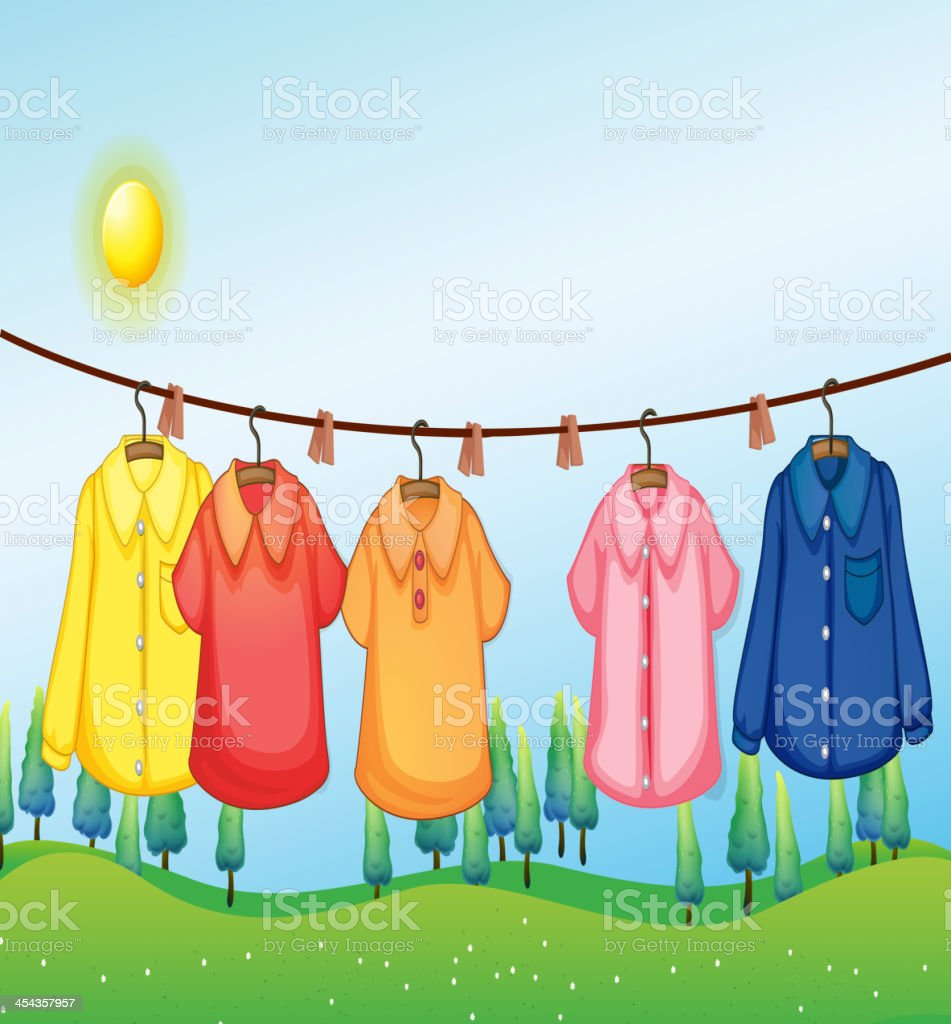 Washed clothes hanging under the sun royalty-free stock vector art