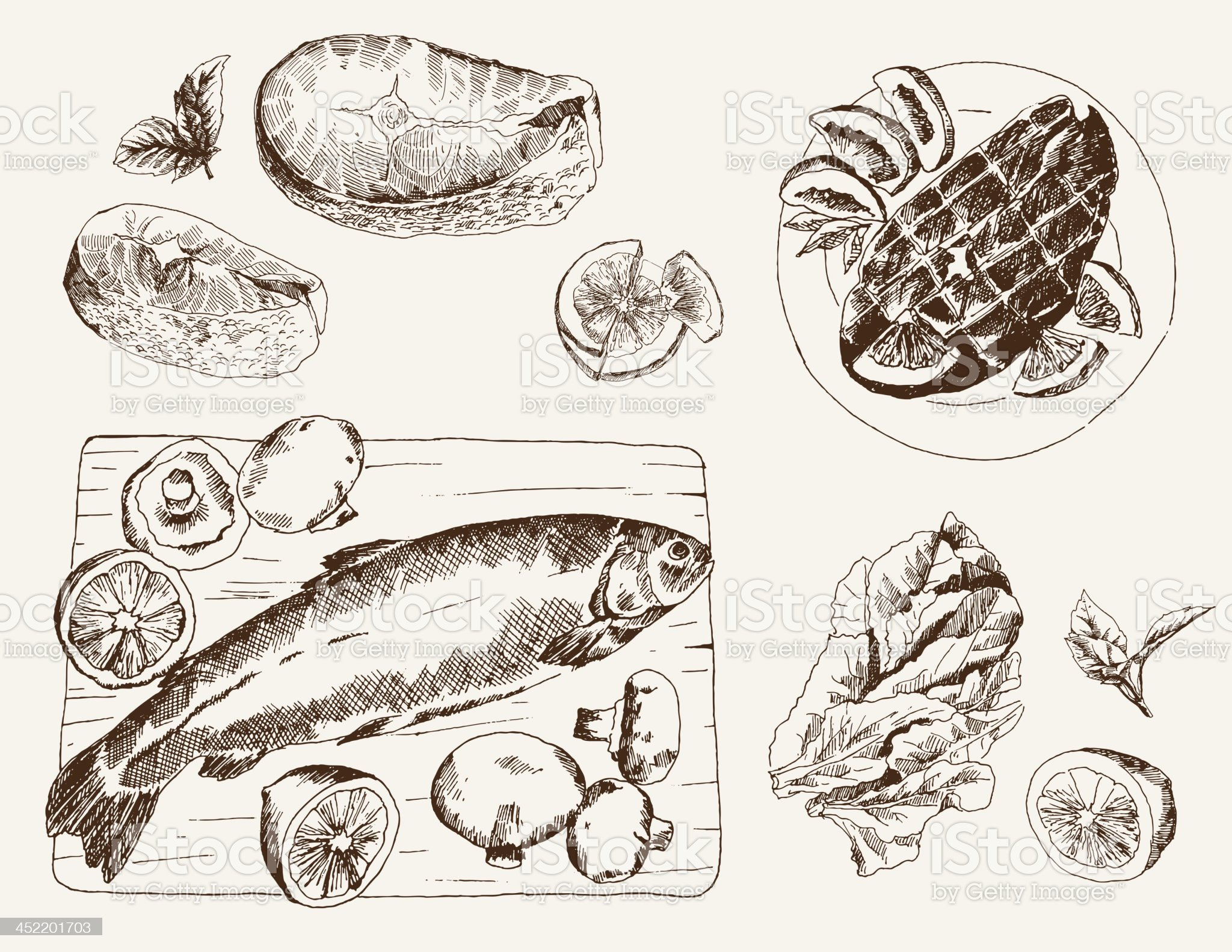 Washed ink drawings of fish related dishes royalty-free stock vector art