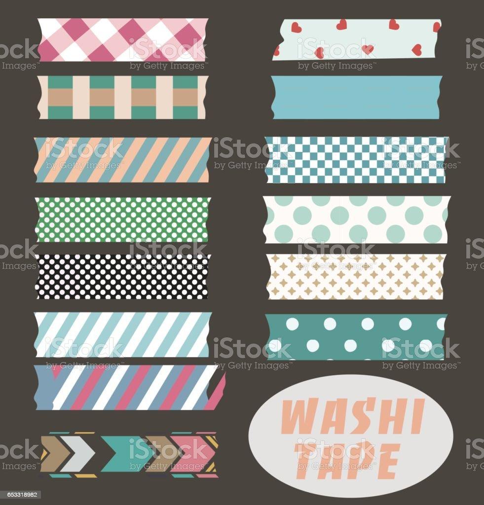 Washi tape set vector art illustration