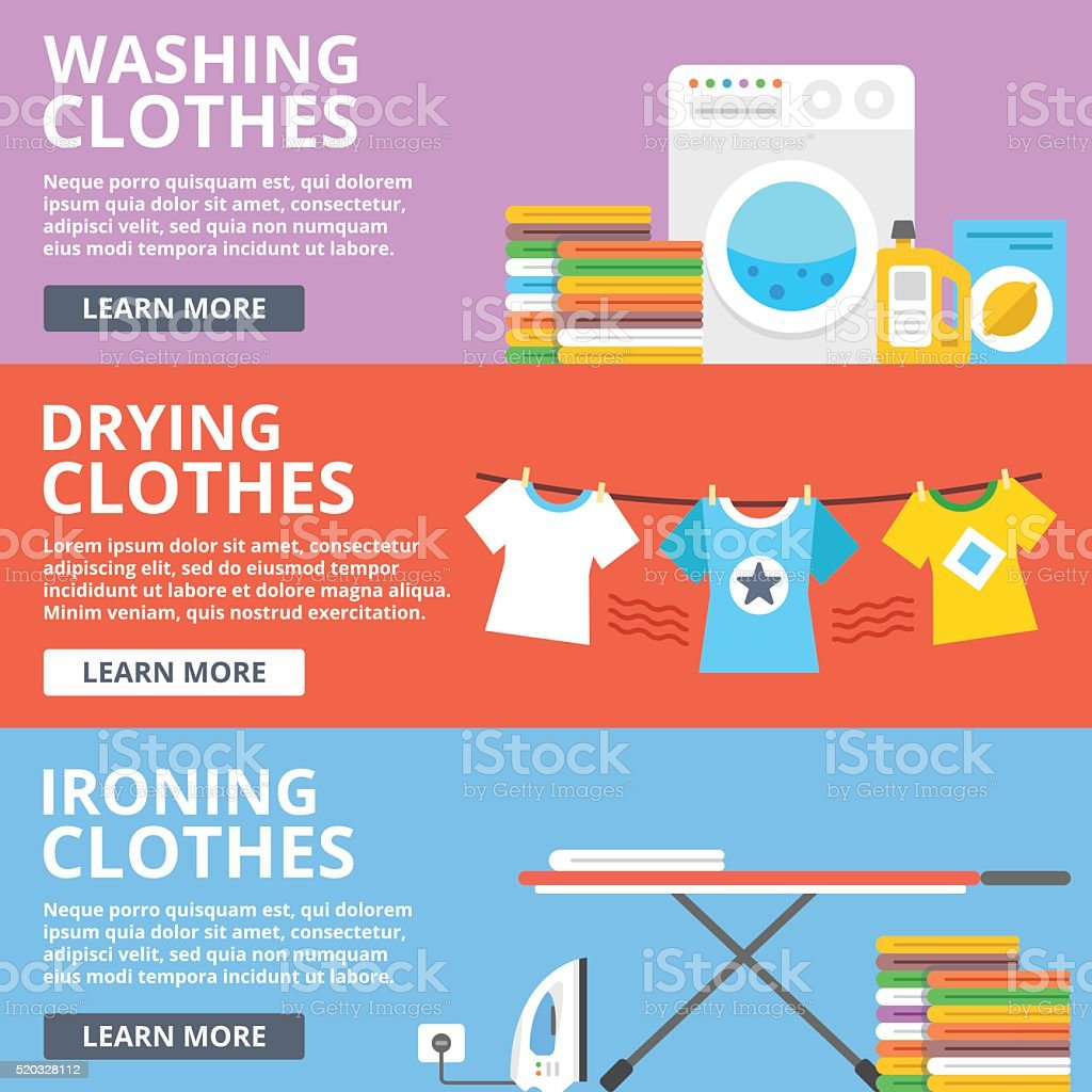 Washing clothes, drying clothes, ironing clothes flat illustration set vector art illustration