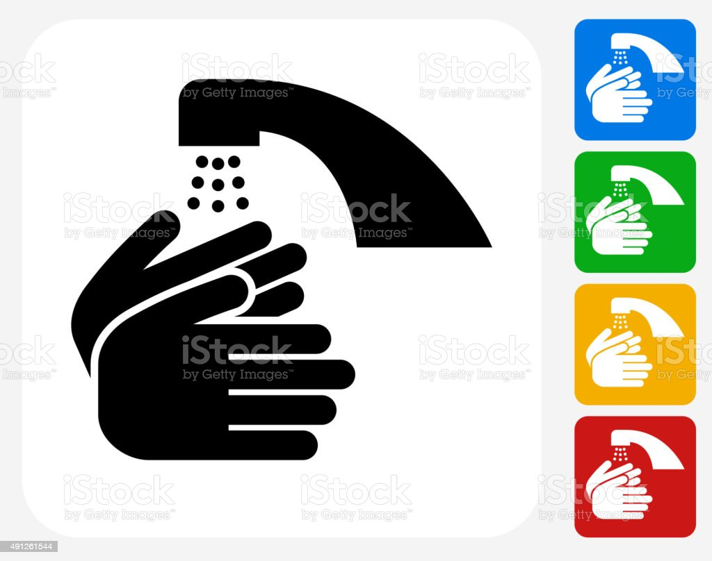 Washing Hands Icon Flat Graphic Design vector art illustration