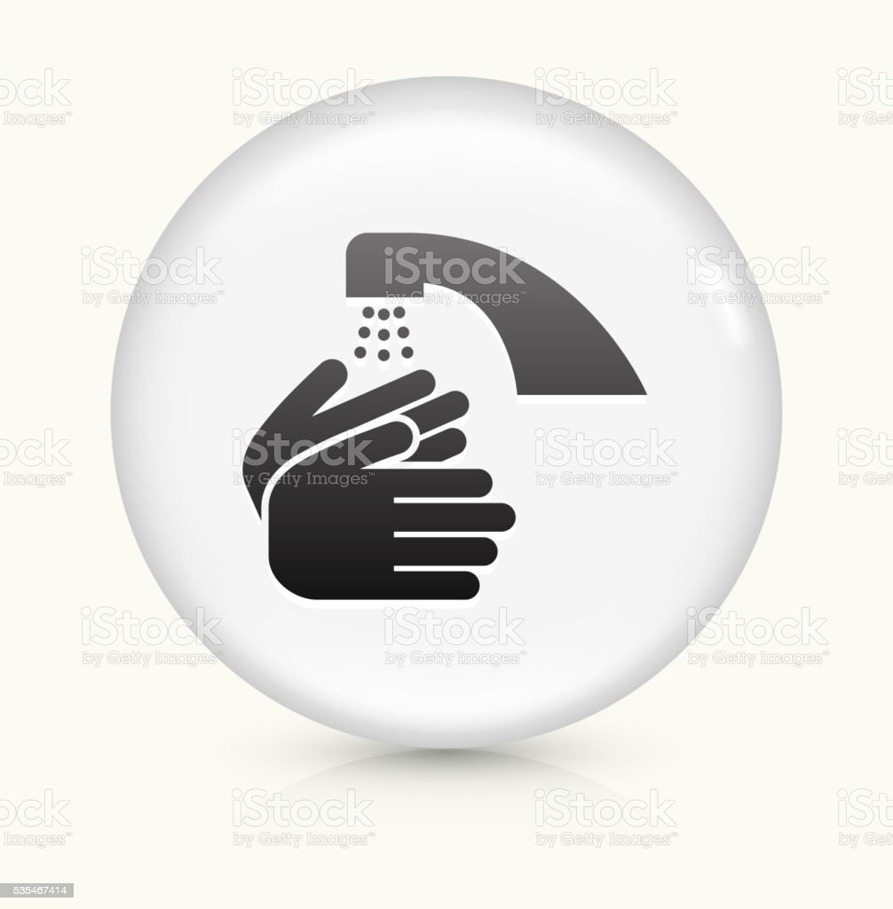 Washing Hands icon on white round vector button vector art illustration