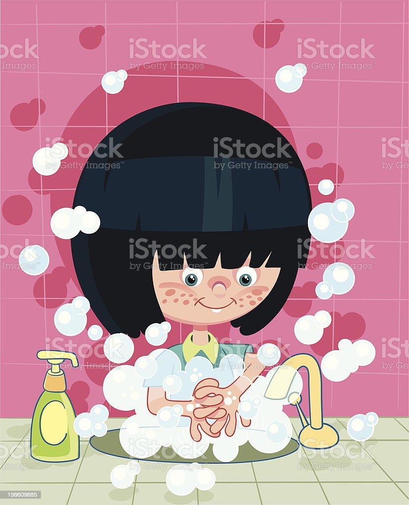 washing hands vector art illustration