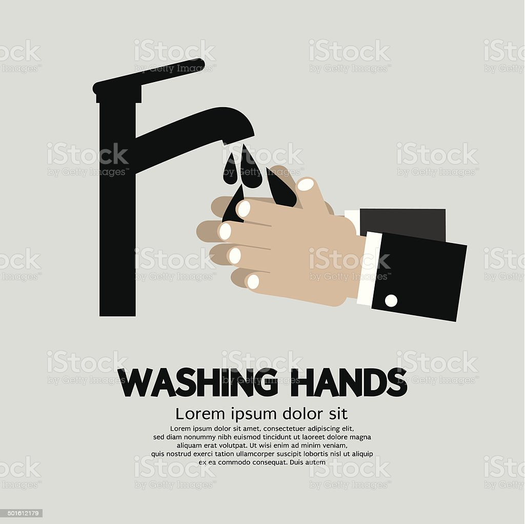 Washing Hands With Faucet vector art illustration