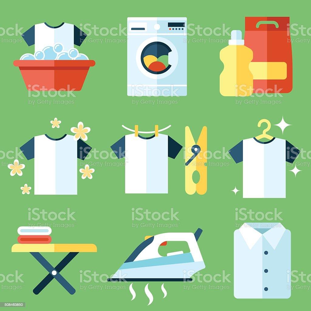 Washing icons vector art illustration